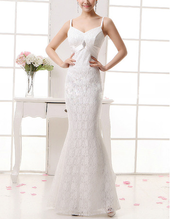Affordable Sexy Lace Mermaid Spaghetti Straps Long Wedding Dresses