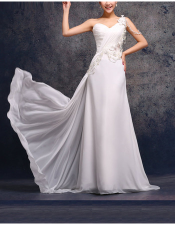 Affordable Elegant Custom One Shoulder Sweep Train Wedding Dresses
