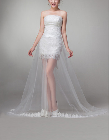 Discount Custom Sheath/ Column Strapless High-Low Wedding Dresses