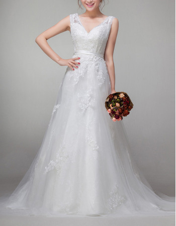 Affordable Vintage A-Line V-Neck Sweep Train Organza Wedding Dresses