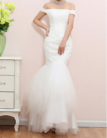 Discount Sexy Mermaid Off-the-shoulder Lace Long Wedding Dresses
