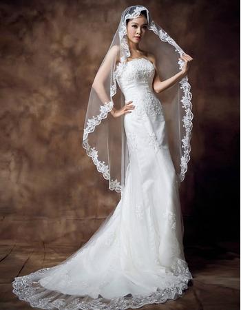 Inexpensive Sexy Sheath Strapless Brush Train Satin Wedding Dresses
