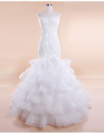 Discount Sexy Mermaid Sweetheart Sweep Train Tiered Wedding Dresses