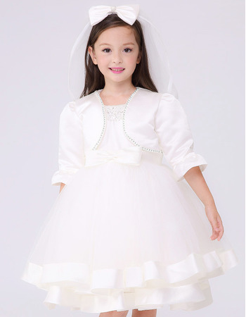 2018 New Style Ball Gown Sleeveless Short First Holy Communion Dresses