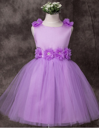 Discount Ball Gown Short Satin Applique Little Girls Party Dresses
