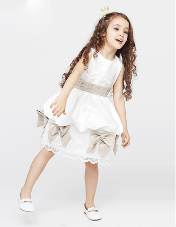 Affordable Ball Gown Knee Length First Communion Dresses with Sashes
