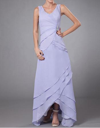 Custom Sheath V-Neck High-Low Chiffon Mother of the Bride Dresses
