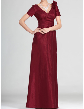 2018 V-Neck Floor Length Mother of the Bride Dresses with Short Sleeves