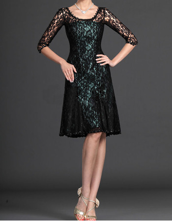 Custom Knee Length Lace Mother of the Bride Dresses with Sleeves