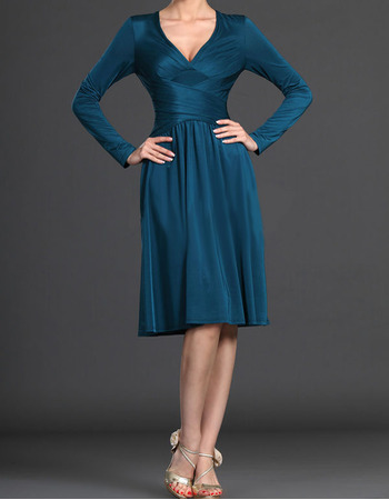 Inexpensive V-Neck Short Mother of the Bride Dresses with Long Sleeves