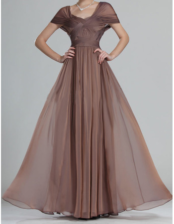 Elegant Long Chiffon Mother of the Bride Dresses with Cap Sleeves