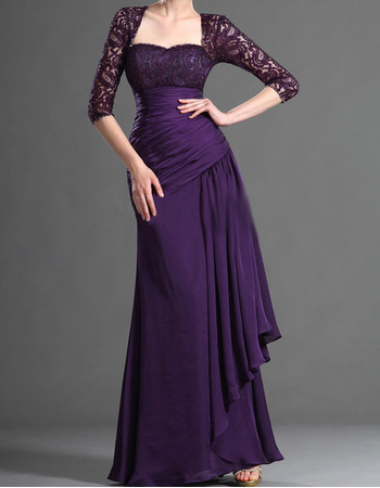 Elegant Long Lace Chiffon Mother of the Bride Dresses with Sleeves