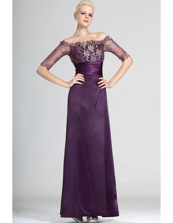 Inexpensive Off-the-shoulder Satin Lace Mother of the Bride Dresses