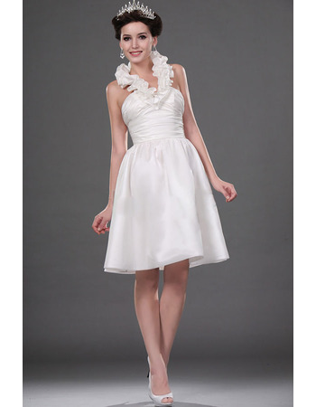 Discount Ball Gown Halter Satin Short Wedding Dresses for Summer