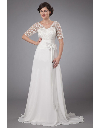 2018 Fall V-Neck Sweep Train Chiffon Wedding Dresses with Lace Sleeves