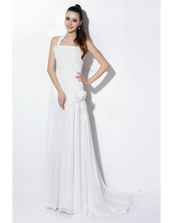 Elegant Sheath Halter Long Chiffon Dropped Waist Wedding Dresses