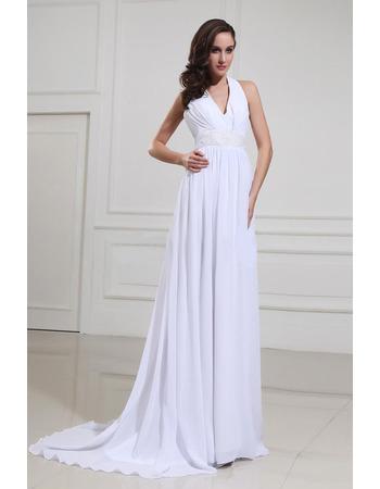 2018 Spring Sheath Halter Sweep Train Chiffon Wedding Dresses with Bows