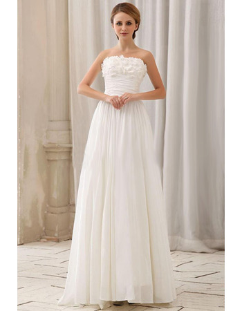 Custom Column Strapless Sleeveless Chapel Train Chiffon Wedding Dresses