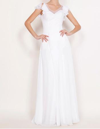 2018 New V-Neck Long Chiffon Wedding Dresses with Short Sleeves