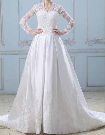 2018 New A-Line V-Neck Chapel Train Wedding Dresses with Long Sleeves