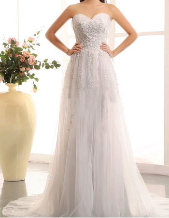 Discount A-Line Sweetheart Sweep Train Tulle Applique Wedding Dresses