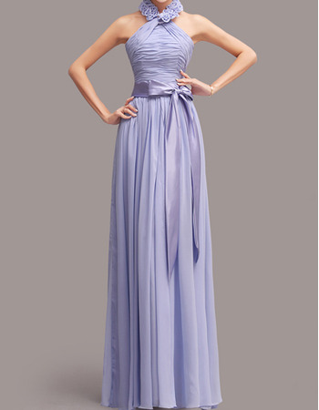 Discount Halter Floor Length Chiffon Bridesmaid Dresses with Sashes