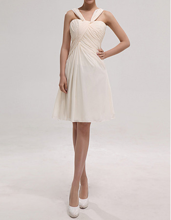 Affordable Straps Sleeveless Knee Length Chiffon Bridesmaid Dresses