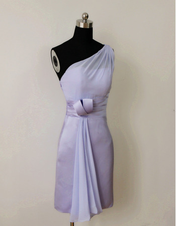 2018 Style One Shoulder Sleeveless Short Satin Bridesmaid Dresses