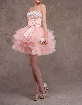 Discount Sweetheart Short Tulle Layered Skirt Homecoming Dresses