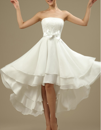 Casual Strapless High-Low Short Chiffon Reception Wedding Dresses