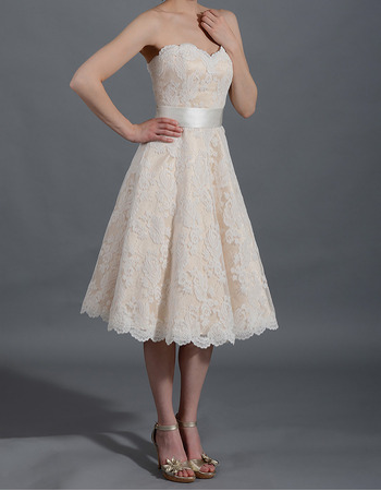 Inexpensive Sweetheart Knee Length Lace Reception Wedding Dresses