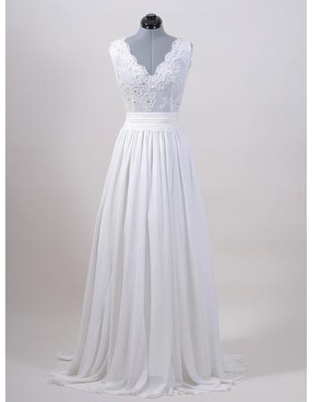 Sexy Column V-Neck Sweep Train Chiffon Wedding Dresses with Applique