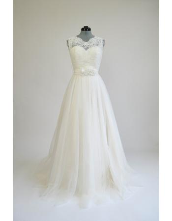 Custom A-Line Sleeveless Floor Length Tulle Wedding Dress with Sash