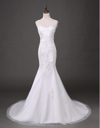 Inexpensive Sheath Round Neck Chapel Train Tulle Wedding Dresses