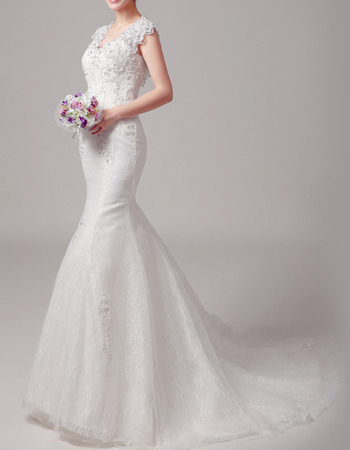 2018 Style Mermaid Sleeveless Court Train Lace Wedding Dresses