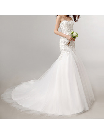 Custom Mermaid Sweetheart Court Train Embroidered Wedding Dresses
