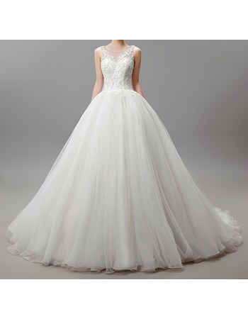 2018 Ball Gown Chapel Train Satin Tulle Applique Wedding Dresses