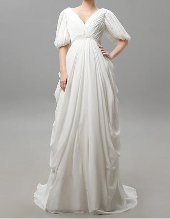 Custom Victorian Column V-Neck Chiffon Wedding Dresses with Sleeves