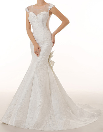 Inexpensive Trumpet Cap Sleeves Long Lace Tulle Wedding Dresses