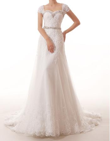 Sexy Sweetheart Cap Sleeves Long Applique Beading Wedding Dresses