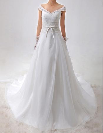 Custom A-Line Off-the-shoulder V-Neck Satin Organza Wedding Dresses