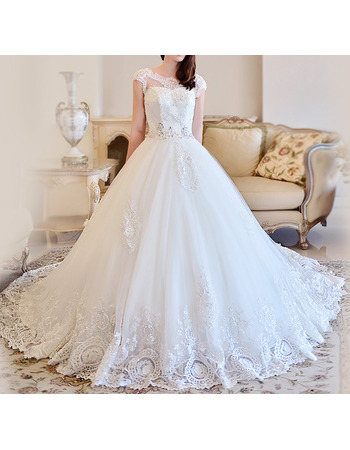 Luxurious Ball Gown Cathedral Train Satin Tulle Wedding Dresses