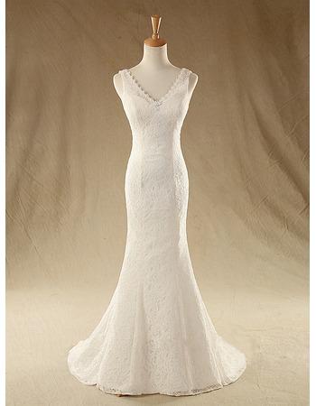 Custom Sexy Sheath V-Neck Sleeveless Sweep Train Lace Wedding Dresses
