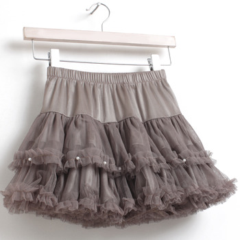Girls' Cute Tulle Mini Skirts with Beads and Ruffle