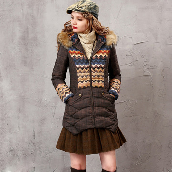 Women's Fashion Winter Slim Printed Hooded Long Down Coats Parkas