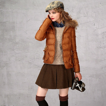 Women's Fashion Winter Slim Solid Hooded Fur Collar Down Coats Parkas