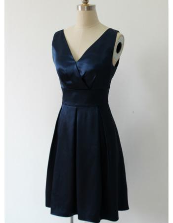 Affordable V-Neck Sleeveless Knee Length Satin Bridesmaid Dresses