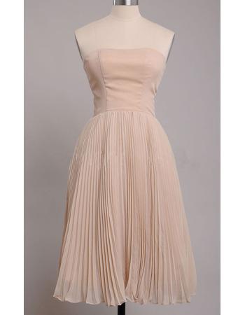 Elegant Pleated Chiffon Satin Strapless Tea Length Bridesmaid Dresses