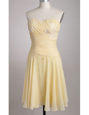 Custom Chiffon Sweetheart Knee Length Applique Bridesmaid Dresses
