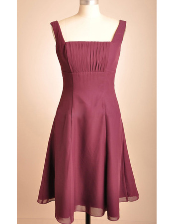 Vintage Square Chiffon Tea Length Sleeveless Bridesmaid Dresses